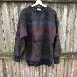 Roots 100% Wool Sweater Made In Ireland Mens XL
